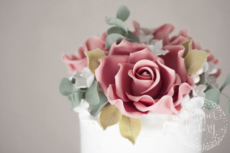 Pearl studded rose wedding cake by Juniper Cakery