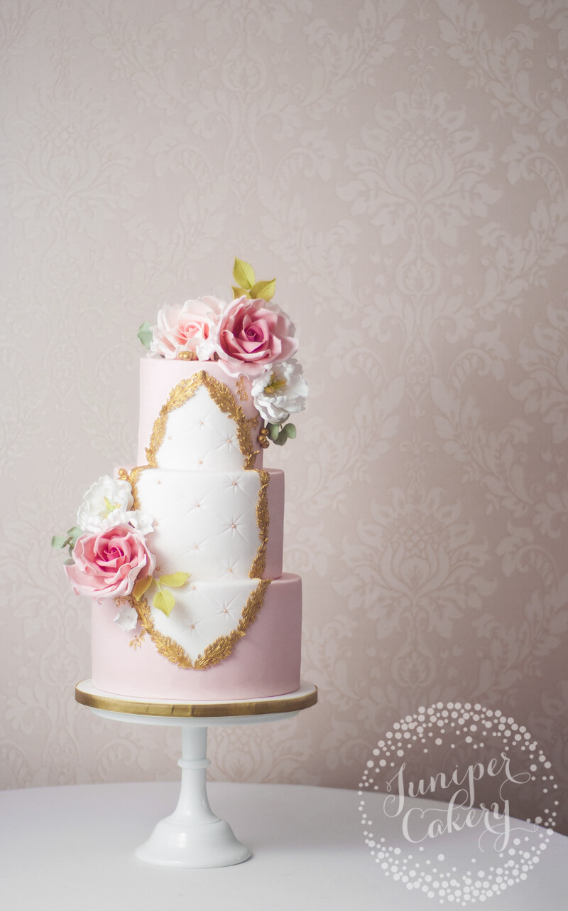 Pretty Pink Rococo Wedding Cake by Juniper Cakery