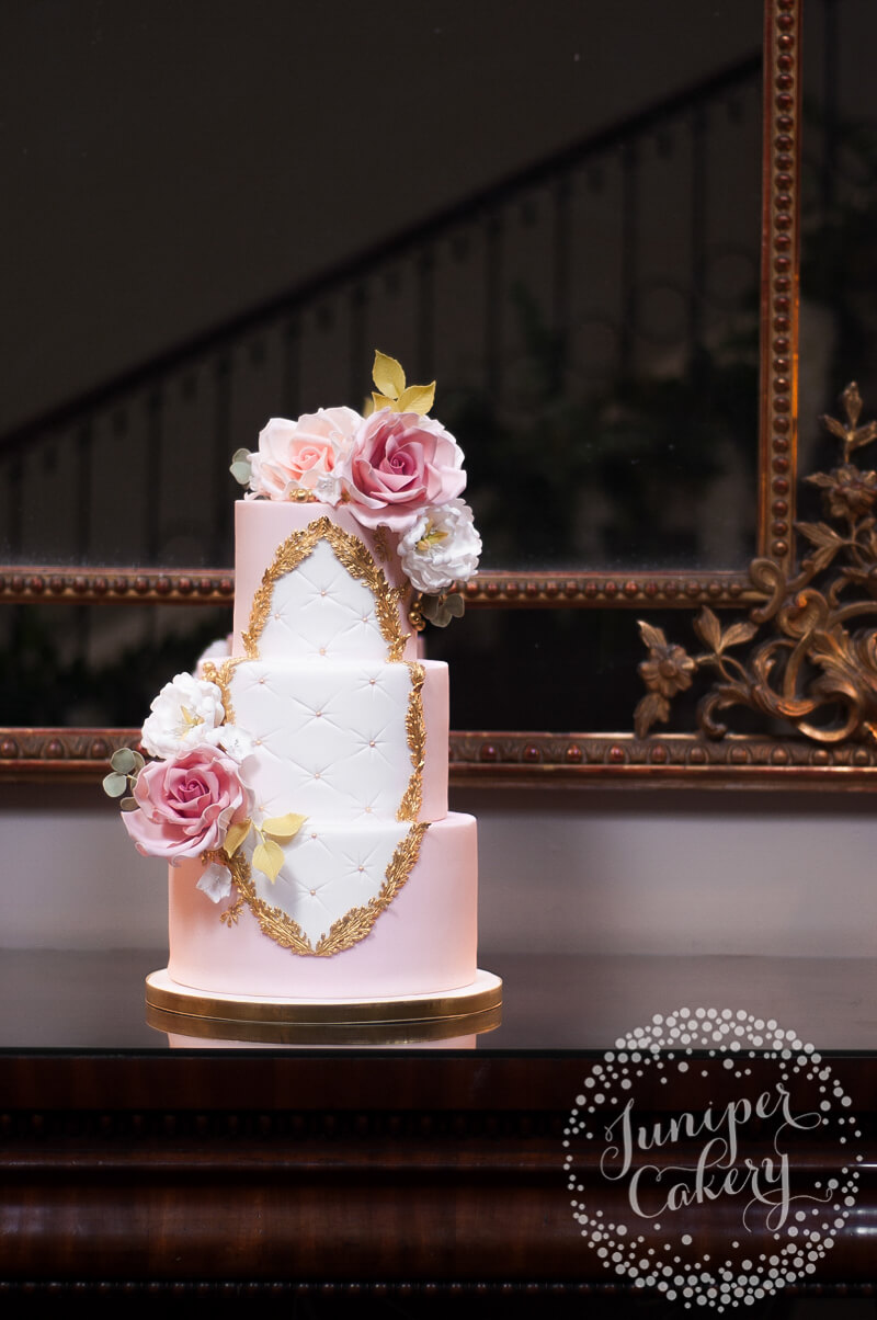 Rococo wedding cake with sugar roses by Juniper Cakery