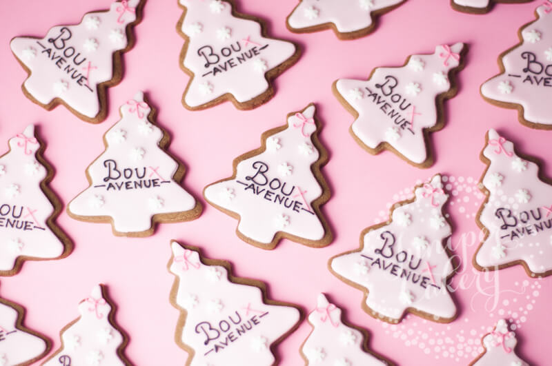 Pink Christmas tree cookies for Boux Avenue by Juniper Cakery