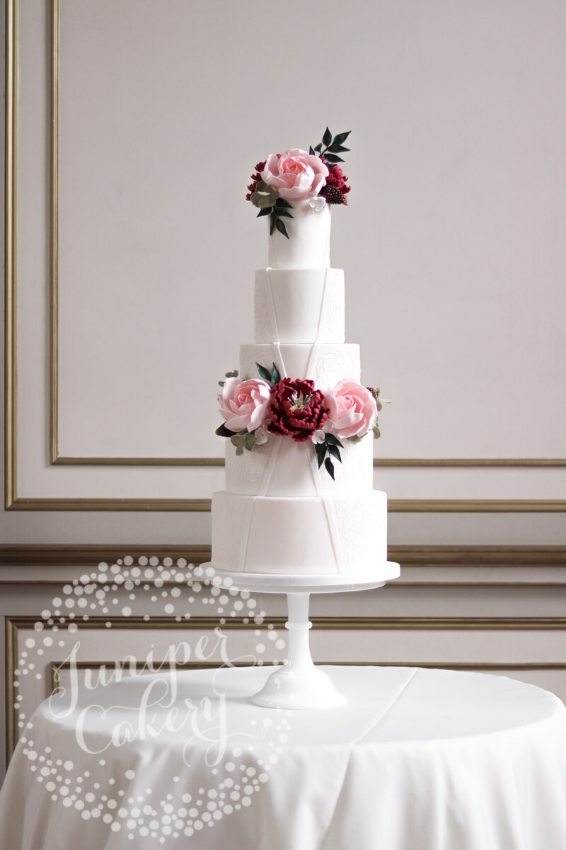 Beautiful rose wedding cake by Juniper Cakery