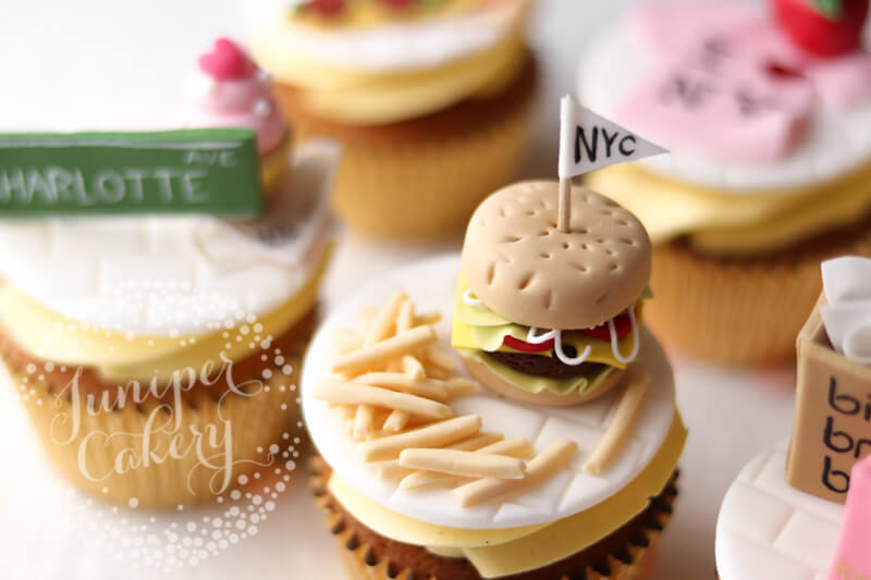 Burger themed cupcake by Juniper Cakery