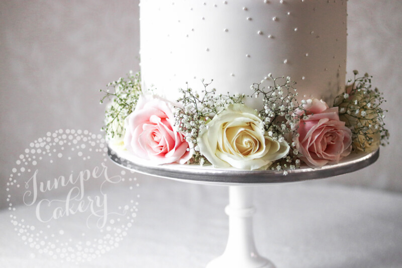 Pretty Pearl Wedding Cake with Fresh Blooms by Juniper Cakery