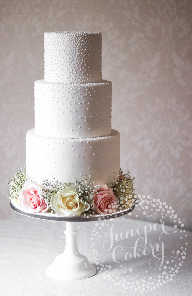 Shimmering Pretty Pearl Wedding Cake With Fresh Flowers By Juniper