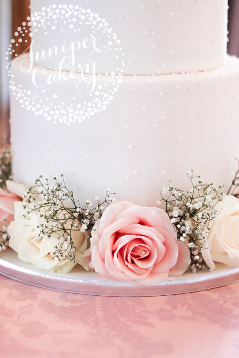 Gorgeous Pretty Pearl Wedding Cake With Fresh Flowers By Juniper