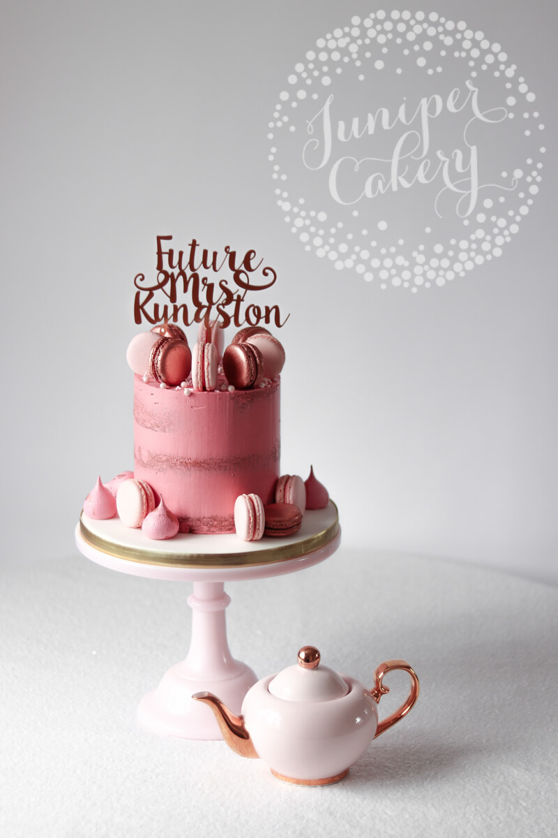 Pretty pink and rose gold Hen Party cake by Juniper Cakery