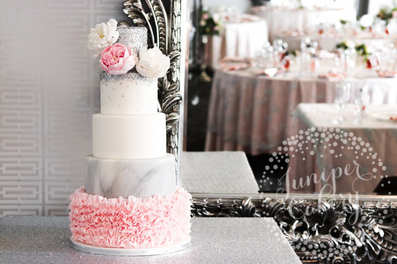 Pink ruffle and silver sequin wedding cake by Juniper Cakery