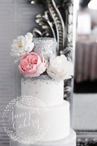 Chic Pink Ruffle and Silver Sequin Wedding Cake!