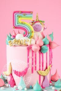 Rainbow Unicorn and Mermaid Birthday Cake!