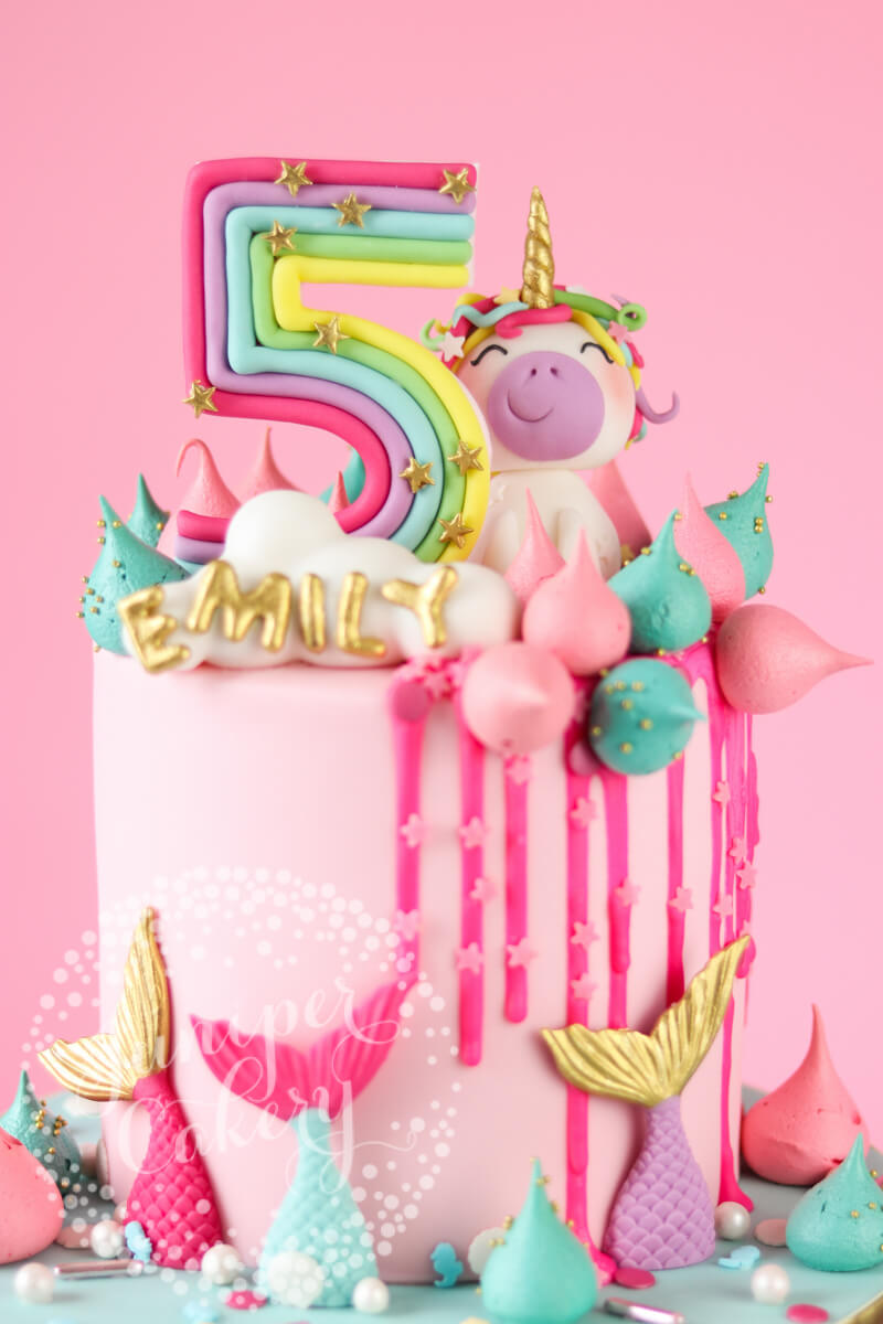 Rainbow Unicorn Birthday Cake by Juniper Cakery