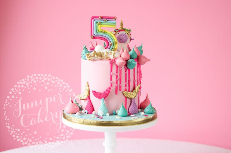 Fun mermaid unicorn cake by Juniper Cakery