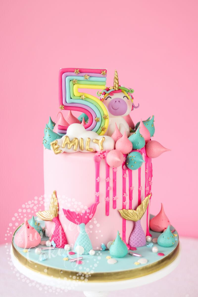 Wondrous Magically Fun Rainbow Unicorn And Mermaid Birthday Cake Personalised Birthday Cards Arneslily Jamesorg
