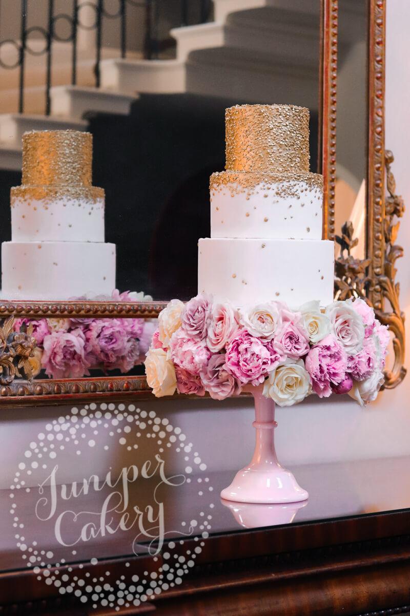 Gold sequin 3 tier wedding cake at Saltmarshe Hall