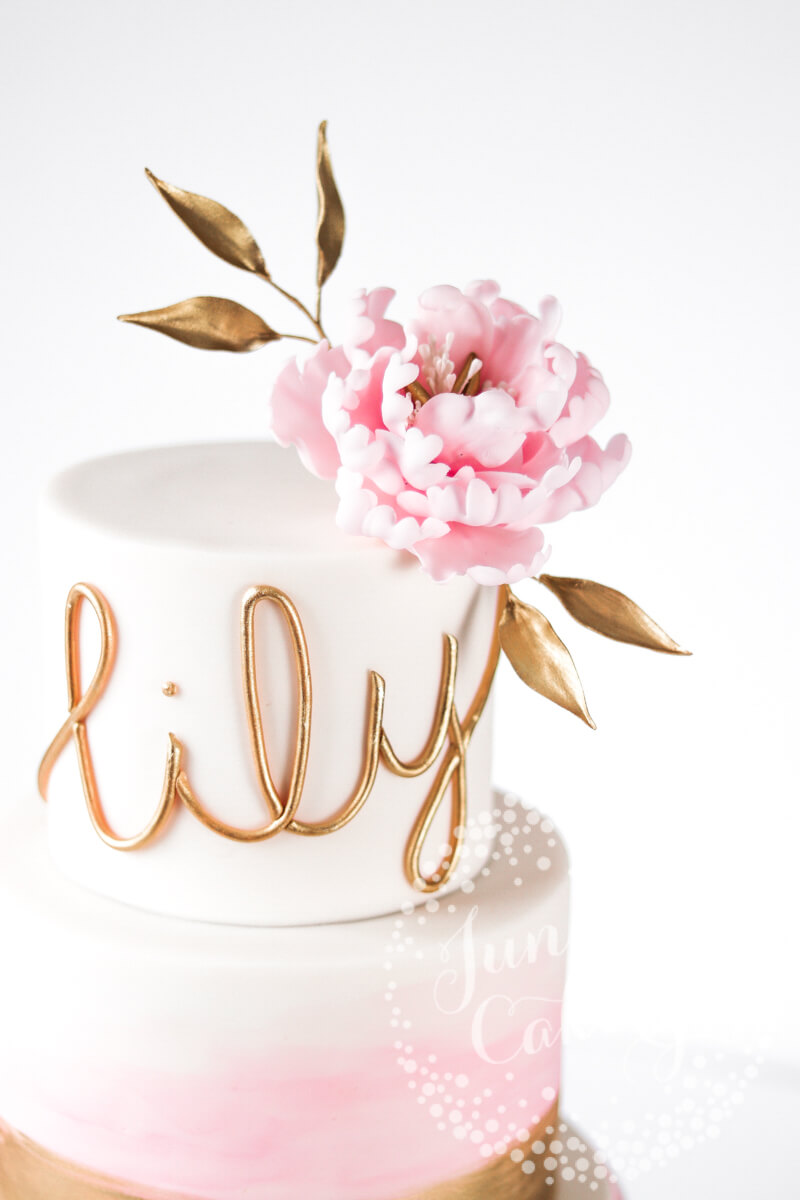 Pretty blush wash peony Christening cake by Juniper Cakery