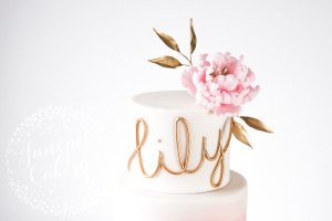 Elegant Blush Watercolour and Peony Christening Cake!