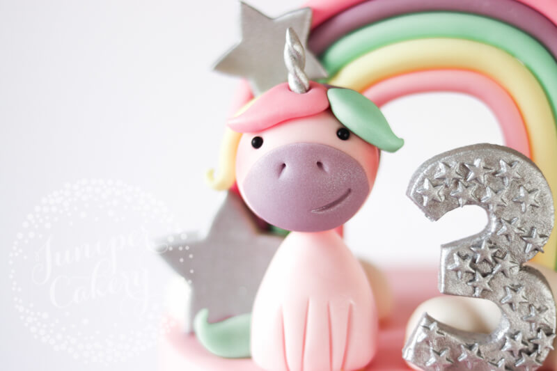 Pretty pastel unicorn cake by Juniper Cakery