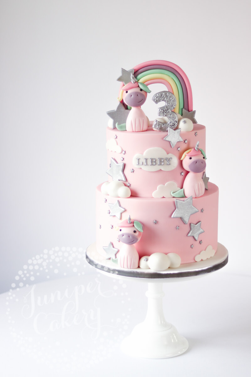 Fun silver and pastel unicorn cake by Juniper Cakery