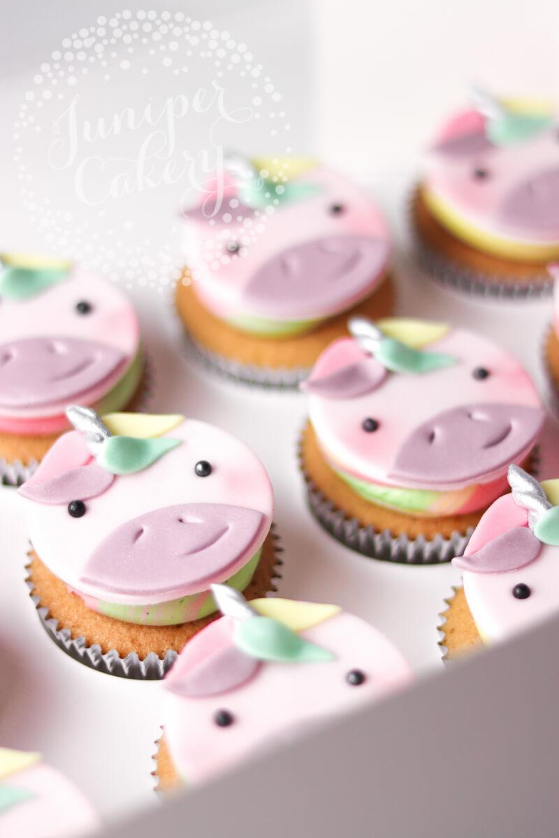 Cute rainbow unicorn cupcakes by Juniper Cakery