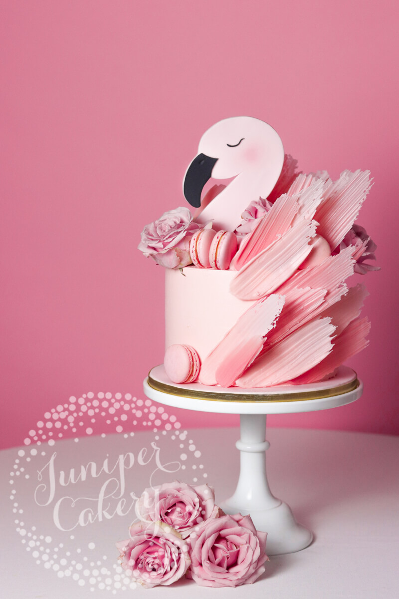 Pretty in pink flamingo cake by Juniper Cakery