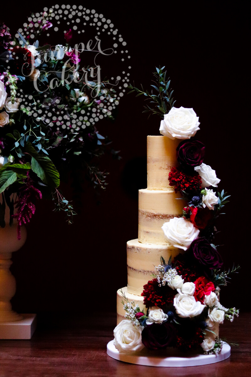 Semi Naked Wedding Cake With Burgundy And Navy By Juniper Cakery