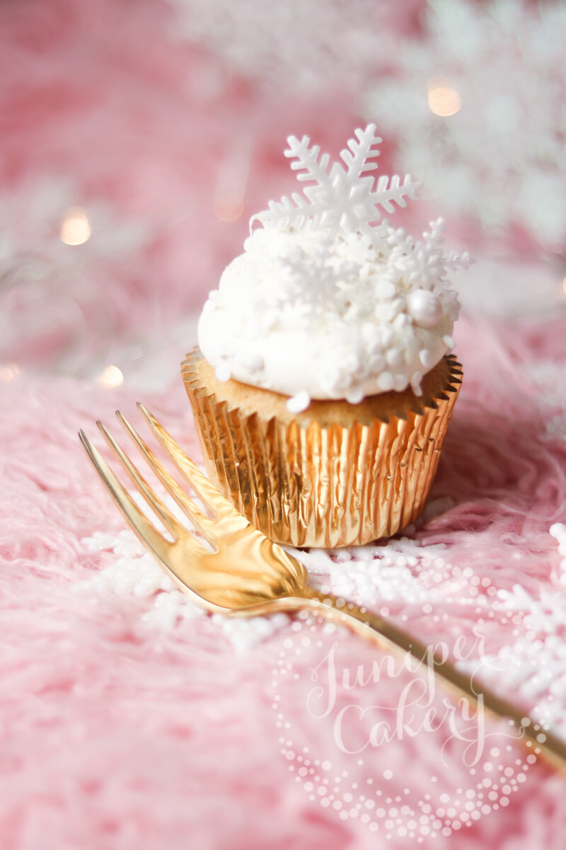 Vanilla and White Chocolate Truffle Christmas cupcake by Juniper Cakery