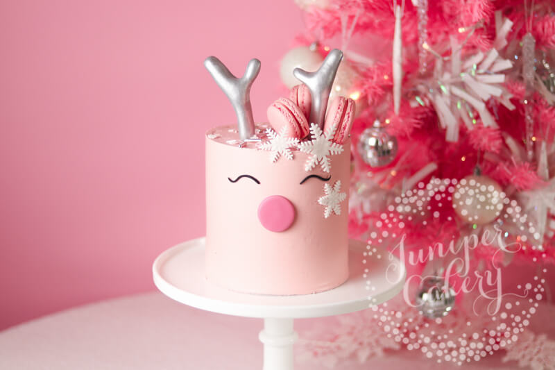 Pretty in Benefit Pink Reindeer Cake Tutorial for Benefit Cosmetics by Juniper Cakery