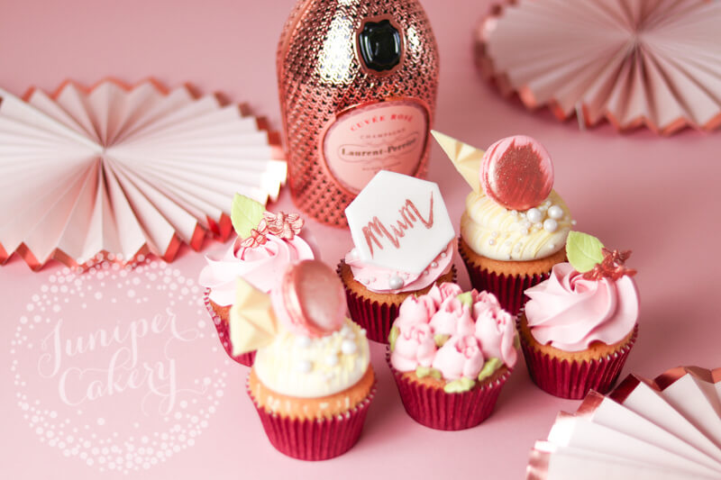 Rose gold Mother's Day cupcakes by Juniper Cakery