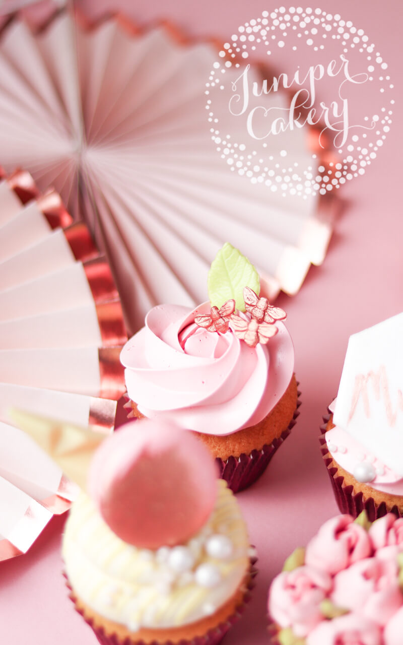 Lovely blush Mother's Day cupcakes by Juniper Cakery