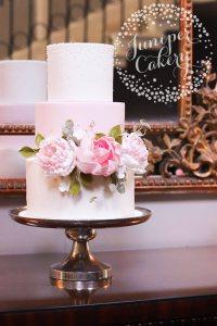 Pretty Blush Pink Floral Wedding Cake at Saltmarshe Hall!