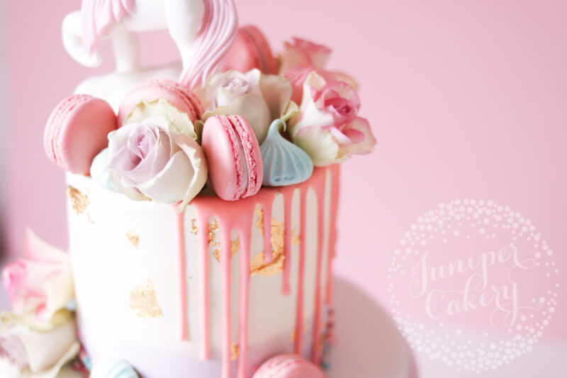 Pretty Unicorn Birthday Cake via Juniper Cakery