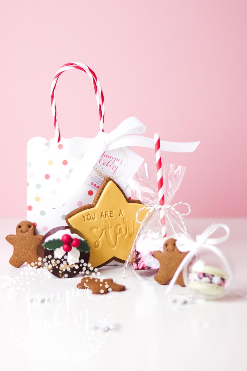 Fun Christmas treat bag by Juniper Cakery
