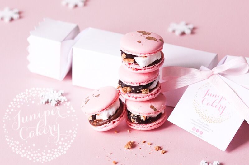 Cute Pink S'Mores Macarons Cracker by Juniper Cakery