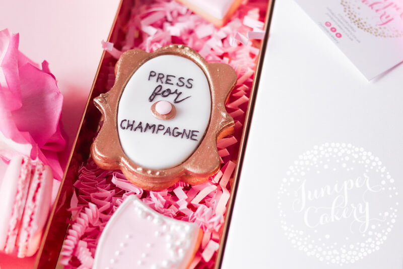 Press for champagne cookie by Juniper Cakery