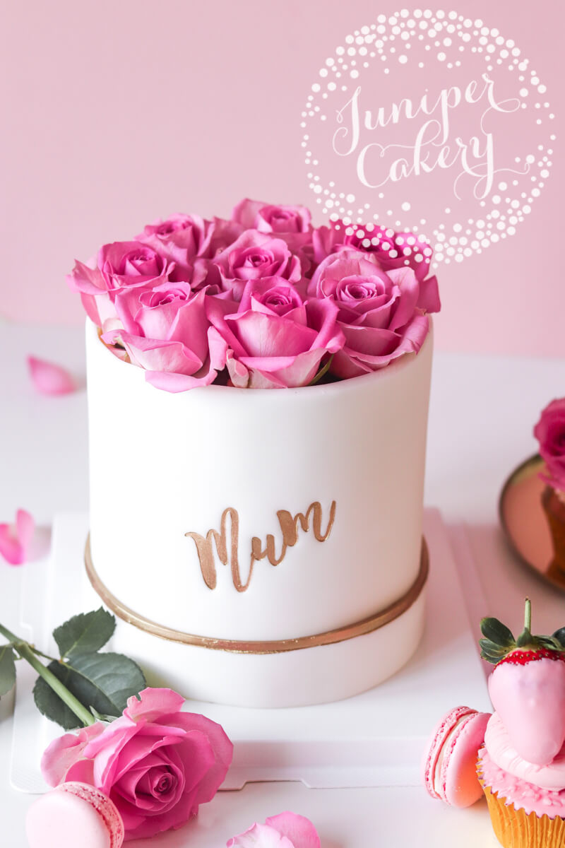 Mother's Day hat box cake by Juniper Cakery