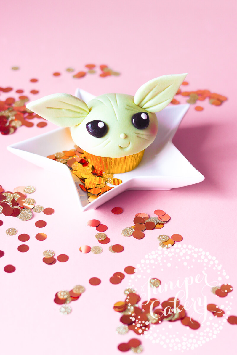 Adorable Baby Yoda cupcake by Juniper Cakery