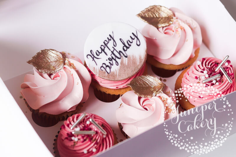 Blush birthday cupcakes by Juniper Cakery
