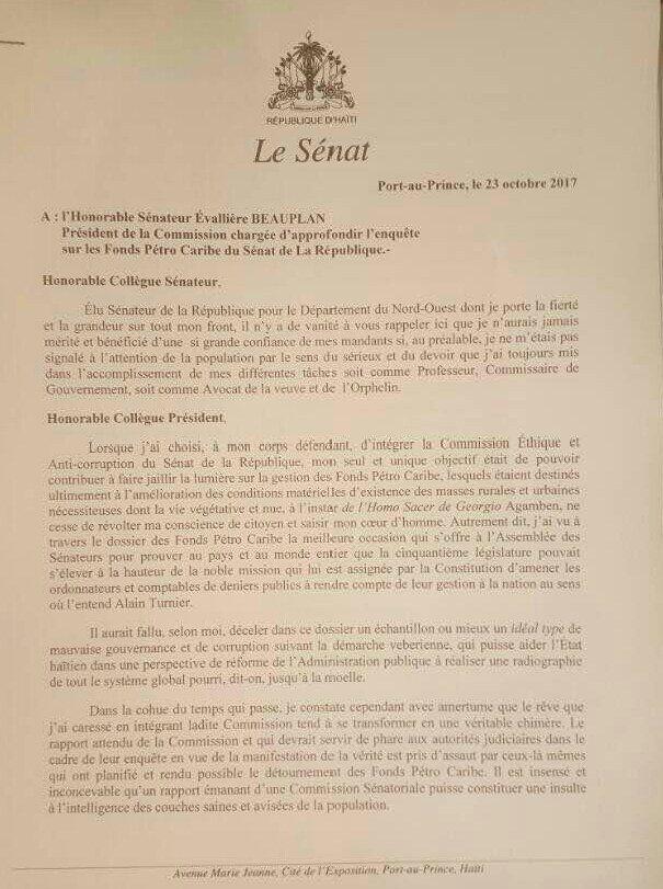 Enquête Pétro Caribe, le Sénateur Louis Onondieu dénonce 31