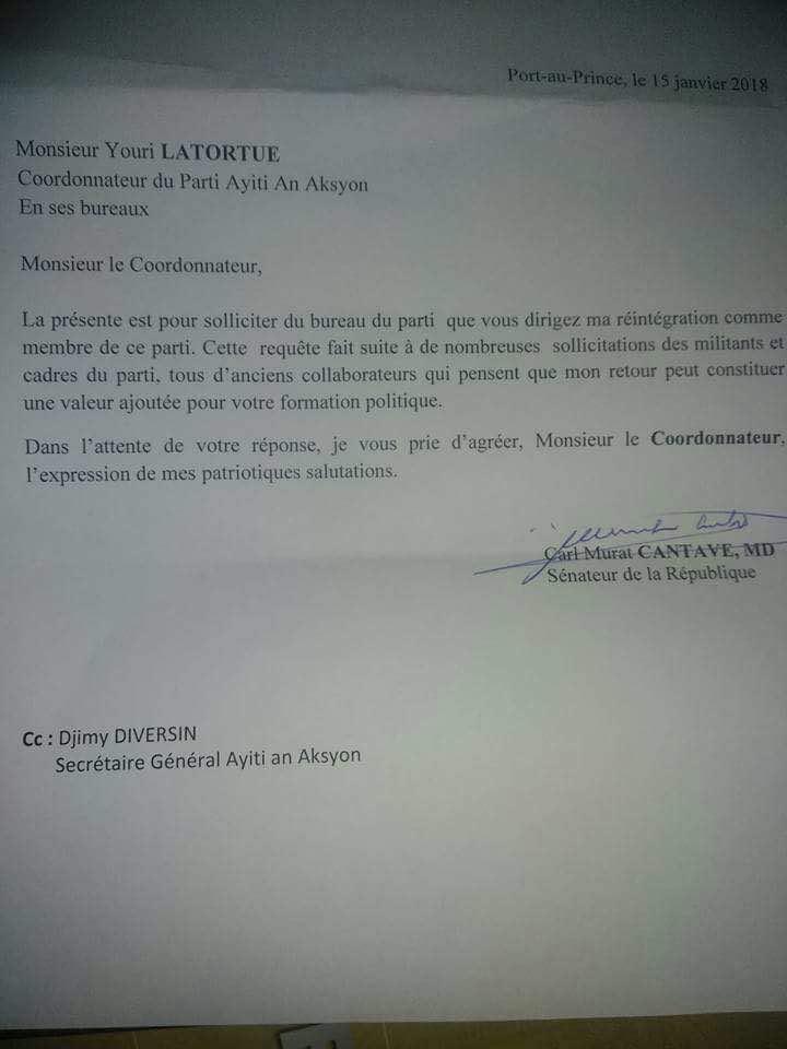 CarlMurat Cantave réintègre officiellement le parti Ayiti An Aksyon 34