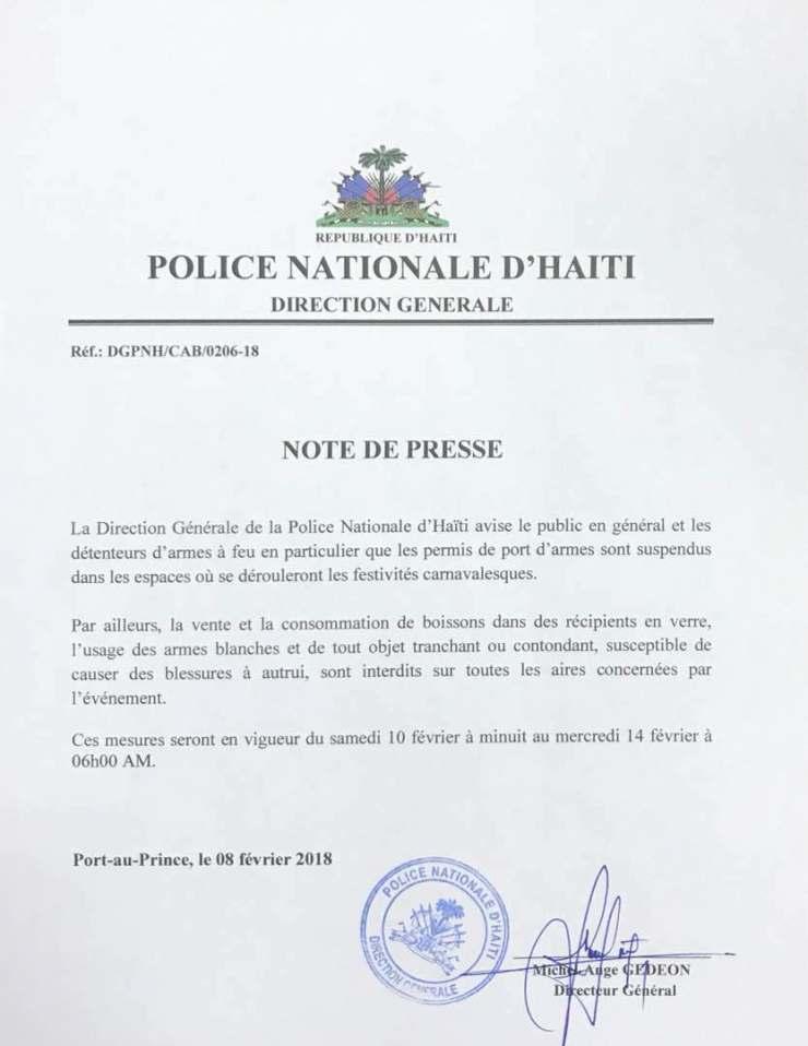 Haïti-Carnaval: Le port d'armes à feu interdit, même pour les policiers 32