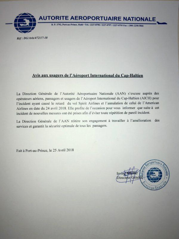 Retard dans les vols à l'aéroport du cap haïtien, l'AAN s'excuse auprès de sa clientèle. 31