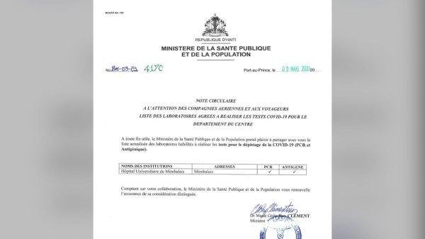 Test covid-19: le MSPP publie la liste des laboratoires autorisés pour trois départements