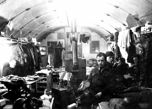 Inside an air force barrack on Umnak Island, Alaska, 1943