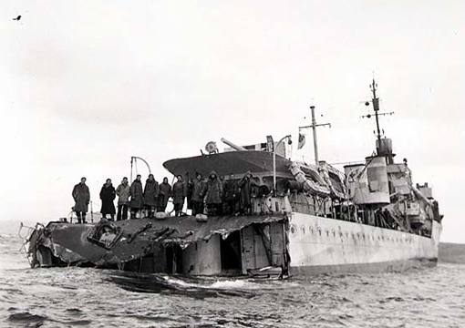 The stern of HMCS Saguenay was blown off by the explosion of its depth charges after being rammed by a freighter on 15 November 1942. The destroyer could not be made seaworthy and was later used as a training ship.