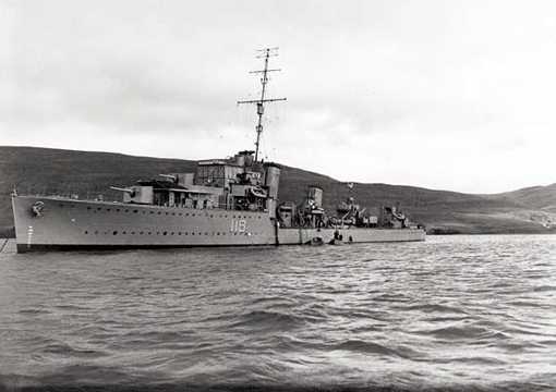 "Completed in 1932, River class destroyer HMCS Assiniboine first served with the Royal Navy as HMS Kempenfelt. She was transferred to the Royal Canadian Navy on October 19, 1939 and participated in numerous escort missions. ""Bones"" was briefly used as troop transport to repatriate Canadian soldiers in June 1945. She was decommissioned August 8, 1945."