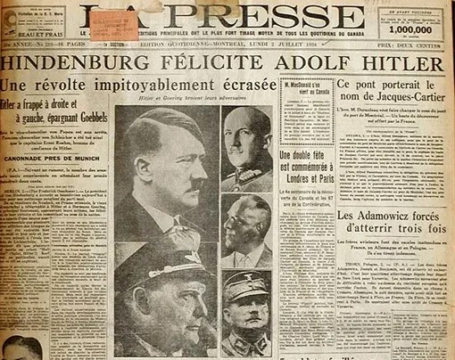 """Une révolte impitoyablement écrasée"" (A Revolt Savagely Suppressed), say the headlines of daily newspaper La Presse, 2 July 1934, in a coverage of the Night of the Long Knives, the arrest and killing of the SA's leadership ordered by Hitler and Göring on 30 June 1934."