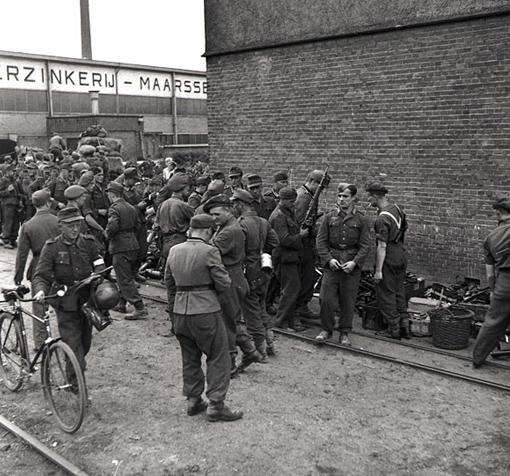 Des soldats allemands sont désarmés dans un dépôt d'armes légères opéré par le 1er Corps canadien aux Pays-Bas, le 11 mai 1945.