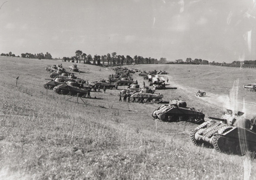 Tank concentration of the Fort Garry Horse ready to leave for noon attack from Bretteville-Le-Rabet, Normandy, during Operation Tractable, 14 August 1944.