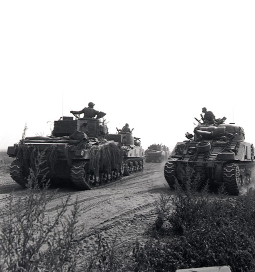 Canadian tanks move into position for attack toward Falaise, between Hubert-Folie and Tilly-la-Campagne, August 8th, 1944.