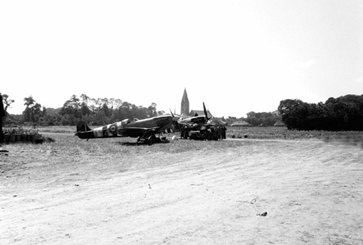 No 412 Squadron Spitfires at Field Base B4 near Bény-sur-Mer, shortly after D-Day.