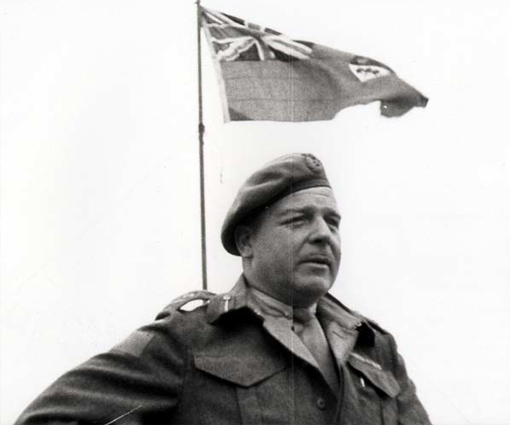 Major-General R.F.L. Keller addressing Canadian troops in Normandy, August 2nd, 1944.